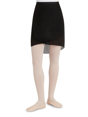 Capezio Georgette Long Wrap Skirt - Black - Front - Style:N276