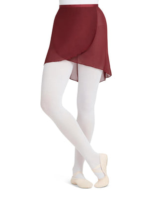 Capezio Georgette Wrap Skirt - Red - Front - Style:N272