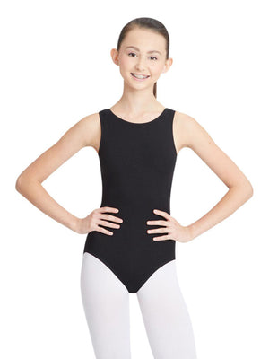 Capezio High-Neck Tank Leotard - Black - Front - Style:CC201