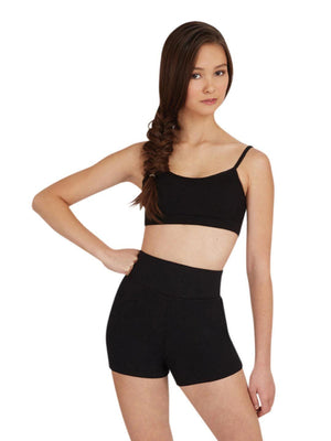 Capezio High Waisted Shorts - Black - Front - Style:TB131