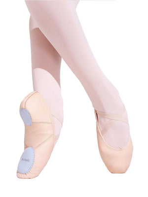 Capezio Leather Juliet Ballet Shoe - Child - Pink - Side - Style:2027C