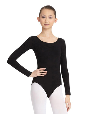 Capezio Long Sleeve Leotard - Black - Front - Style:CC450