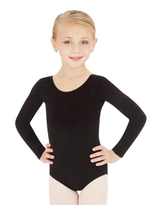 Capezio Long Sleeve Leotard - Girls - Black - Front - Style:CC450C