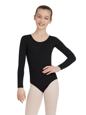 Capezio Long Sleeve Leotard - Girls - Black - Front - Style:TB134C