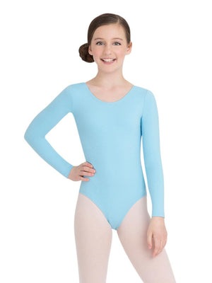 Capezio Long Sleeve Leotard - Girls - Blue - Front - Style:TB134C