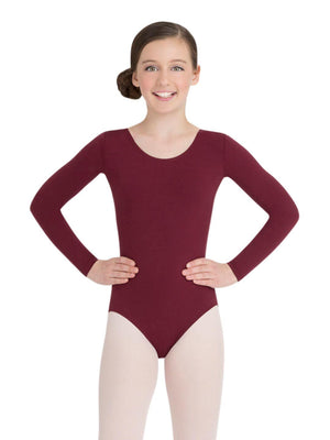 Capezio Long Sleeve Leotard - Girls - Brown - Front - Style:TB134C
