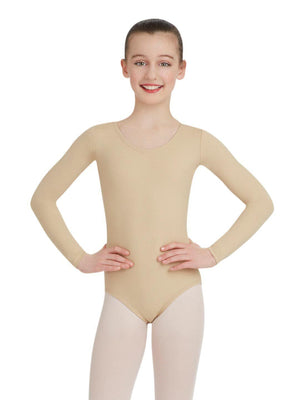Capezio Long Sleeve Leotard - Girls - Tan - Front - Style:TB134C