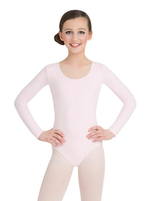 Capezio Long Sleeve Leotard - Girls - Pink - Front - Style:CC450C