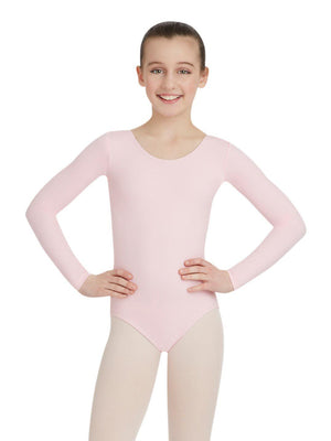 Capezio Long Sleeve Leotard - Girls - Pink - Front - Style:TB134C