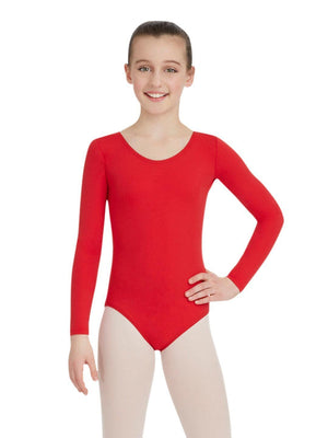 Capezio Long Sleeve Leotard - Girls - Red - Front - Style:TB134C