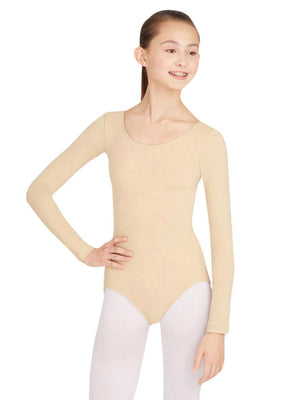 Capezio Long Sleeve Leotard - Tan - Front - Style:TB135
