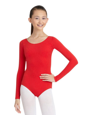 Capezio Long Sleeve Leotard - Red - Front - Style:TB135