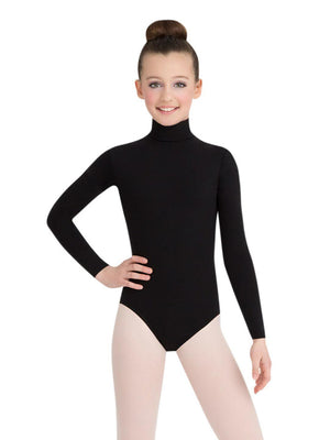 Capezio Long Sleeve Turtleneck Leotard w/ Snaps - Girls - Black - Front - Style:TB123C