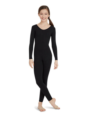Capezio Long Sleeve Unitard - Girls - Black - Front - Style:TB114C