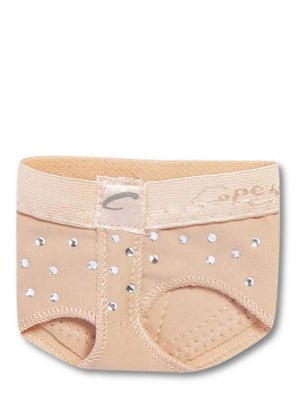 Capezio Rhinestone footUndeez - Tan - Front - Style:H07R
