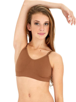 Capezio Seamless Clear Back Bra - Brown - Front - Style:3683