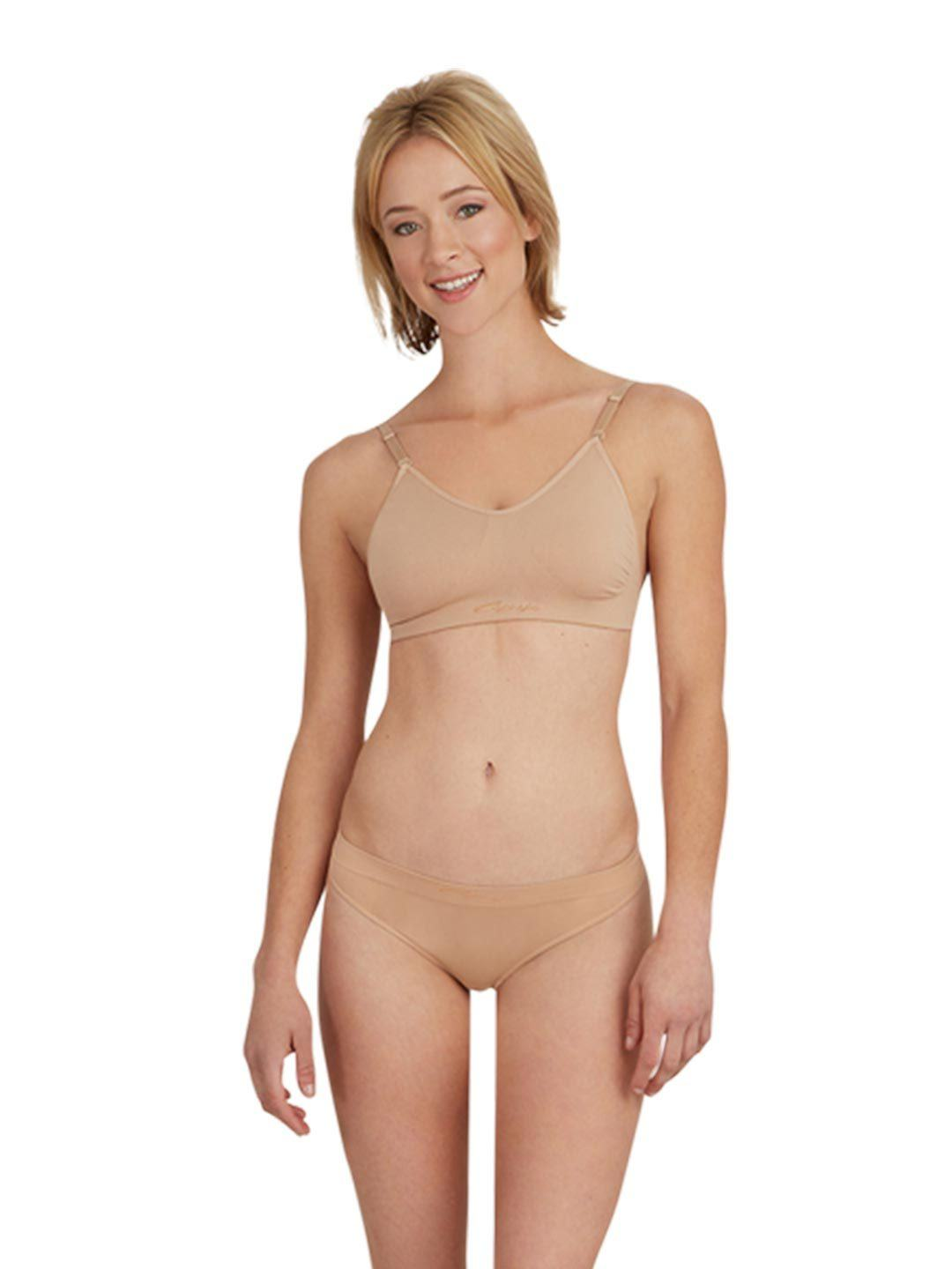 3683 Nude Capezio overs and unders clear back bra dance underwear