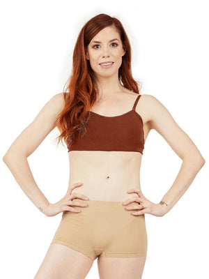 Capezio Seamless Clear Back Sweetheart Bandeau Bra - Brown - Front - Style:3776W