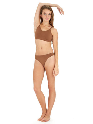Capezio Seamless Low Rise Thong - Brown - Front - Style:3678