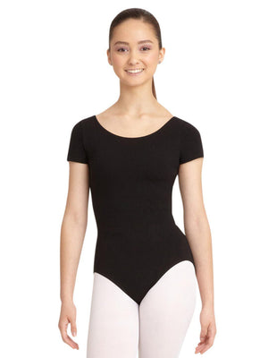 Capezio Short Sleeve Leotard - Black - Front - Style:CC400