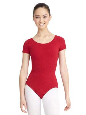 Capezio Short Sleeve Leotard - Red - Front - Style:CC400