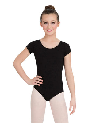 Capezio Short Sleeve Leotard - Girls - Black - Front - Style:CC400C