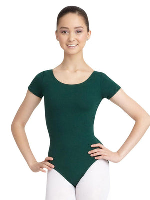 Capezio Short Sleeve Leotard - Green - Front - Style:CC400