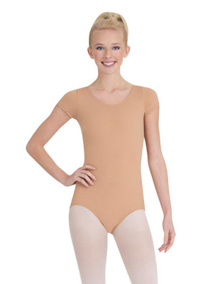 Capezio Short Sleeve Leotard - Tan - Front - Style:TB133