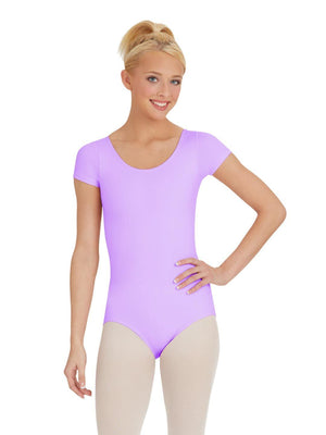 Capezio Short Sleeve Leotard - Purple - Front - Style:TB133
