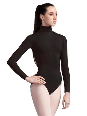 Capezio Turtleneck Long Sleeve Leotard - Black - Front - Style:TB41