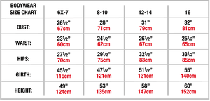 Bodywear Size Chart Child