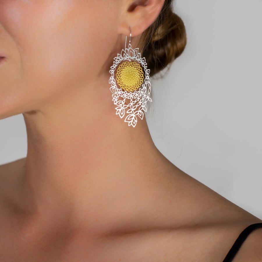 Flower of Life Earrings 3  (Mixed-plated)