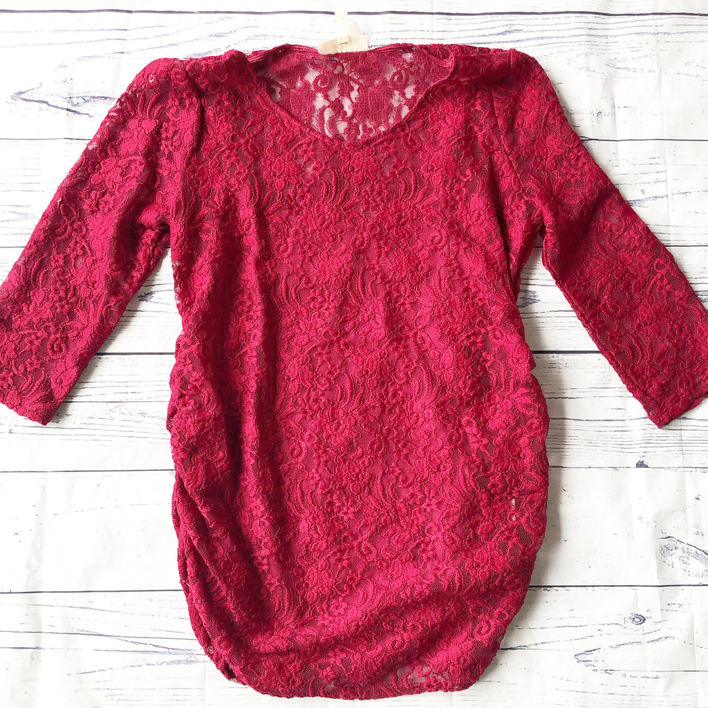 Cranberry Lace Overlay Top
