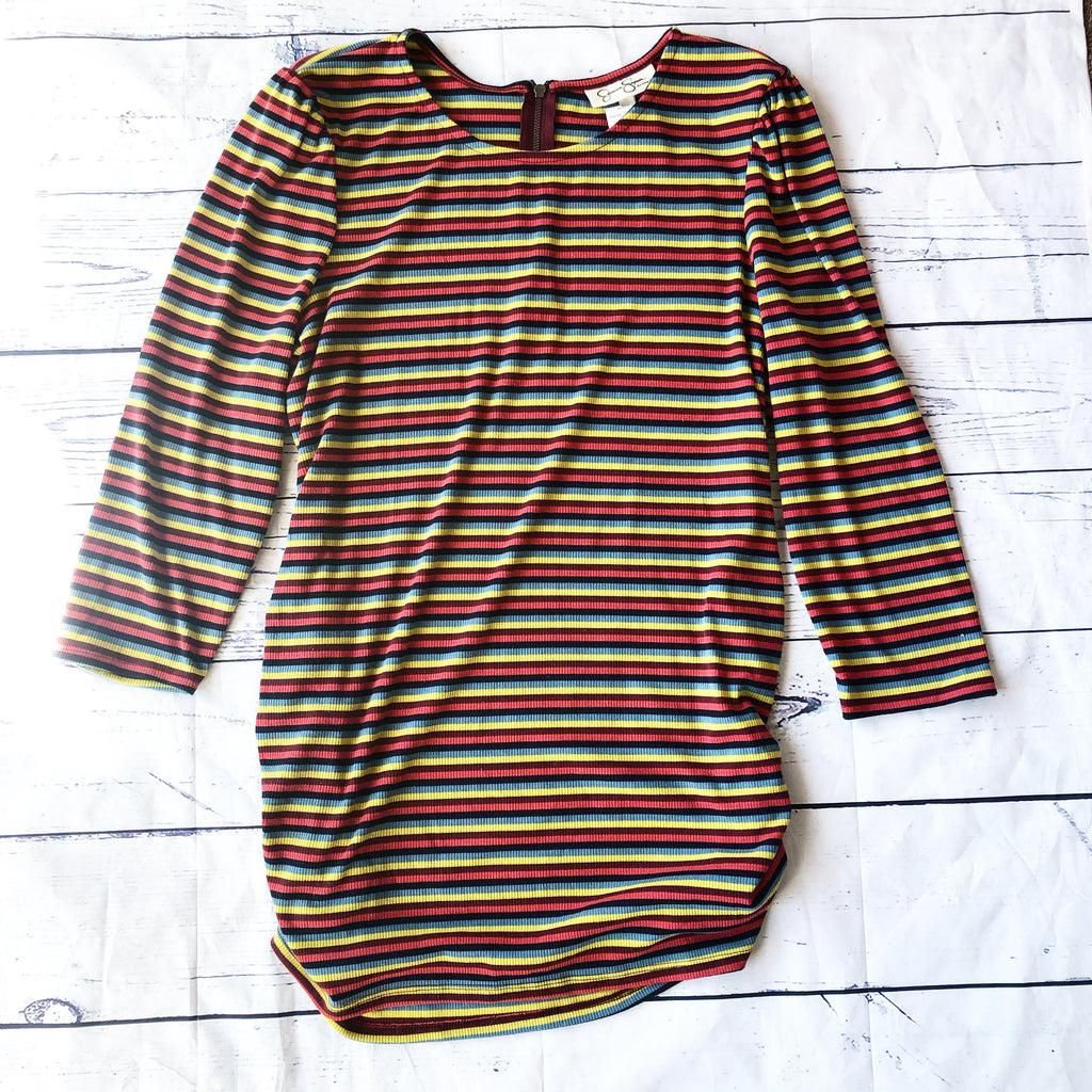 Multicolored striped LS Top