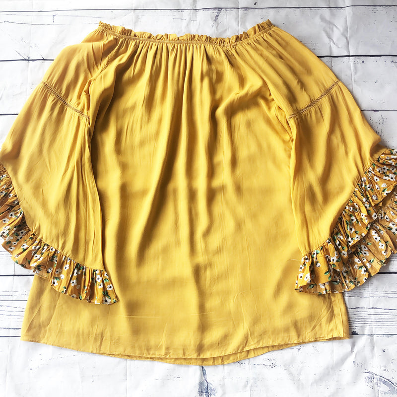 NWT Yellow Bell Sleeve Tunic