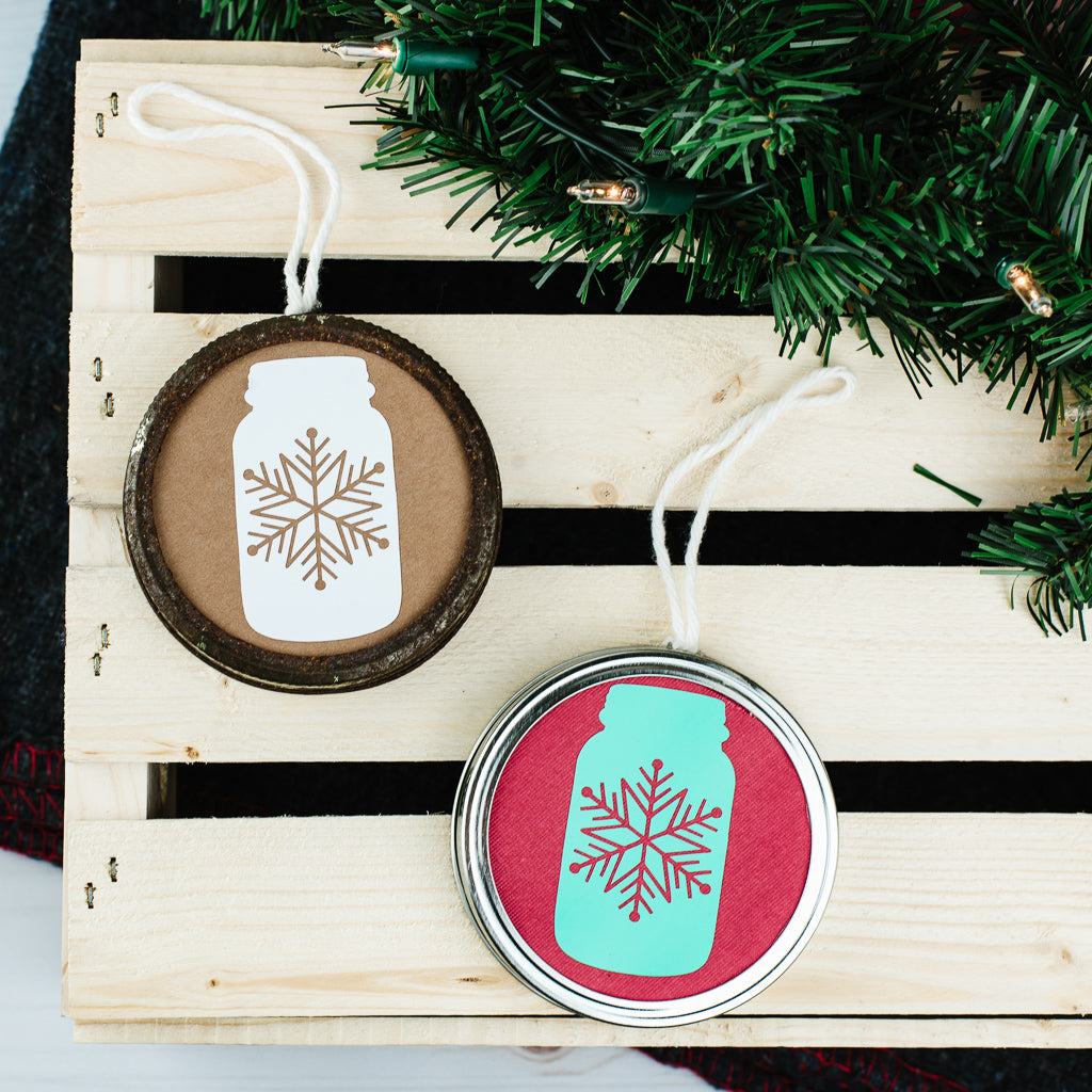 DIY Double-Sided Mason Jar Ring Christmas Ornament