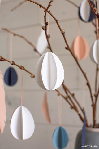 3D paper egg Easter tree ornaments from Lia Griffith