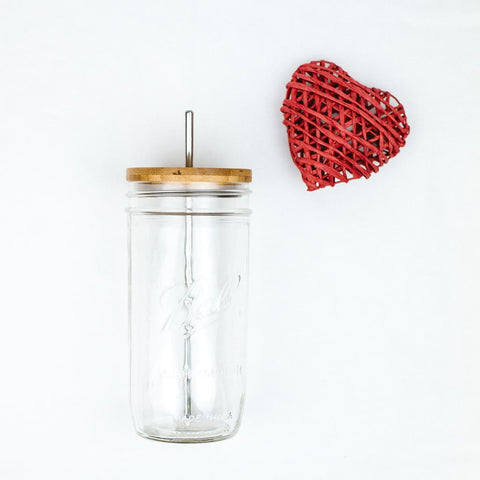 reusable glass mason jar tumbler with sustainable bamboo lid and stainless steel reusable straw