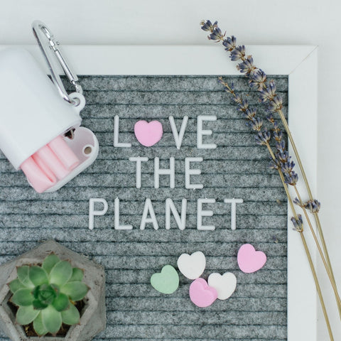 grey letter board that says love the planet with a lavender sprig, succulent and reusable straw