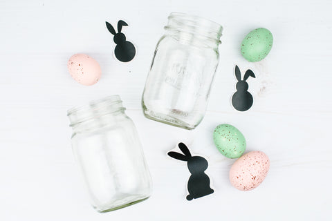 free Easter bunny silhouette decals for mason jar DIY projects