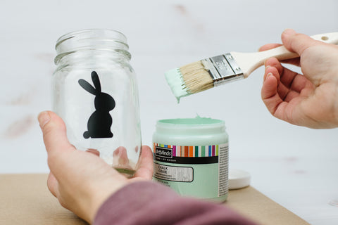 Easter bunny silhouette painted mason jar DIY