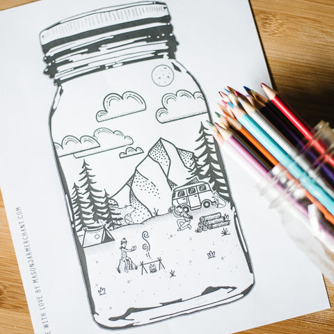 free printable coloring page featuring pacific northwest camping scene