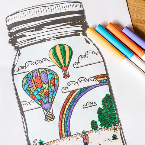free printable coloring page outdoor scene with a cloudy sky full of hot air balloons and a rainbow