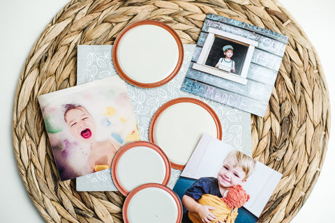 an assortment of colourful photographs of kids and used mason jar flat lids for simple mason jar lid DIYs