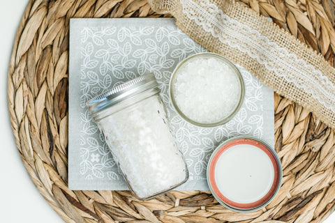 epson salts in mason jars with burlap ribbon