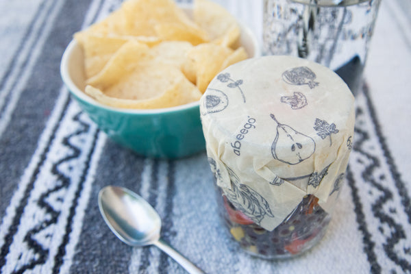 Abeego Beeswax Wrap on Mason Jar