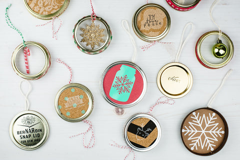 handmade ornaments made from used mason jar lids and rings