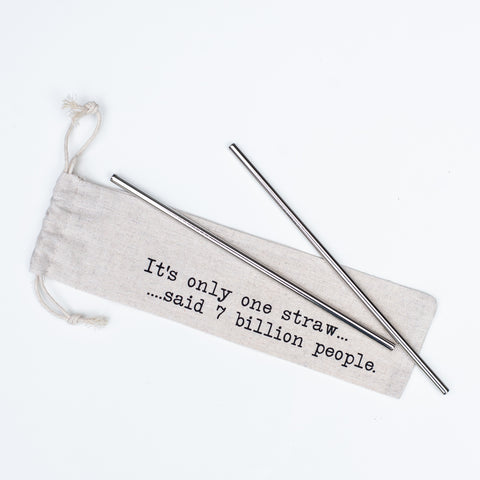 "Reusable stainless steel straws and straw pouch that reads ""It's only one straw said 7 million people"""