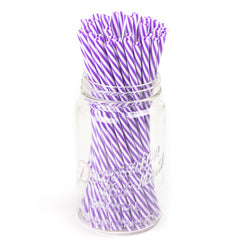 purple and white striped BPA free reusable plastic straws in a mason jar