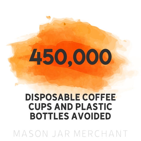 450,000 disposable coffee cups and plastic bottles avoided